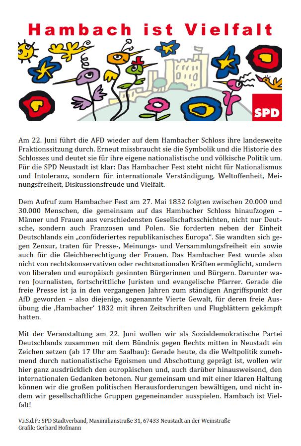 Das Hambacher Schloss darf nicht das Vereinsheim der AfD werden ...